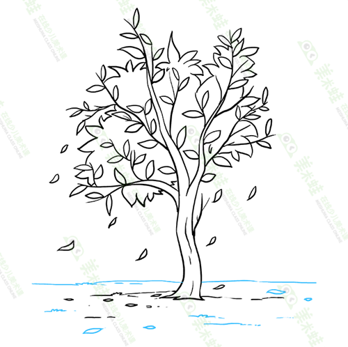秋天的风景怎么画-如何画秋风扫落叶-美术蛙带你画秋景